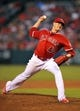 August 9, 2014; Anaheim, CA, USA; Los Angeles Angels starting pitcher Garrett Richards (43) pitches the sixth inning against the Boston Red Sox at Angel Stadium of Anaheim. Mandatory Credit: Gary A. Vasquez-USA TODAY Sports