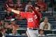 Aug 9, 2014; Atlanta, GA, USA; Washington Nationals first baseman Adam LaRoche (25) hits a home run against the Atlanta Braves during the sixth inning at Turner Field. Mandatory Credit: Dale Zanine-USA TODAY Sports