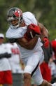 Jul 28, 2014; Tampa, FL, USA; Tampa Bay Buccaneers wide receiver Vincent Jackson (83) runs with the ball during training camp at One Buc Place. Mandatory Credit: Kim Klement-USA TODAY Sports