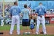 Aug 10, 2014; Kansas City, MO, USA; Kansas City Royals players Billy Butler (16) and Alex Gordon (4) stand with young fans during the National Anthem before the game with the San Francisco Giants at Kauffman Stadium. Kansas City defeated San Francisco 7-4. Mandatory Credit: Peter G. Aiken-USA TODAY Sports