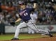 Aug 11, 2014; Houston, TX, USA; Minnesota Twins starting pitcher Tommy Milone (49) pitches during the first inning against the Houston Astros at Minute Maid Park. Mandatory Credit: Troy Taormina-USA TODAY Sports