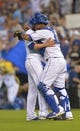 Aug 9, 2014; Kansas City, MO, USA; Kansas City Royals starting pitcher James Shields (33) is congratulated by catcher Salvador Perez (13) after the game against the San Francisco Giants at Kauffman Stadium. The Royals won 5-0. Mandatory Credit: Denny Medley-USA TODAY Sports