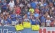 Aug 9, 2014; Kansas City, MO, USA; San Francisco Giants right fielder Hunter Pence (8) fans hold up troll signs during the game against the Kansas City Royals at Kauffman Stadium. The Royals won 5-0. Mandatory Credit: Denny Medley-USA TODAY Sports
