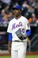 Aug 12, 2014; New York, NY, USA; New York Mets starting pitcher Rafael Montero (50) heads to the dugout after being relieved during the sixth inning against the Washington Nationals at Citi Field. Mandatory Credit: Anthony Gruppuso-USA TODAY Sports