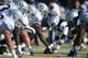Aug 12, 2014; Oxnard, CA, USA; General view of the line of scrimmage as Oakland Raiders center Kevin Boothe (67) snaps the ball at scrimmage against the Dallas Cowboys at River Ridge Fields. Mandatory Credit: Kirby Lee-USA TODAY Sports
