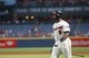 Aug 10, 2014; Atlanta, GA, USA; Atlanta Braves left fielder Justin Upton (8) prepares to bat against Washington Nationals starting pitcher Gio Gonzalez (not pictured) in the first inning of their game at Turner Field. The Braves won 3-1. Mandatory Credit: Jason Getz-USA TODAY Sports
