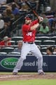 Aug 10, 2014; Atlanta, GA, USA; Washington Nationals left fielder Bryce Harper (34) is shown during an at bat during their game against the Atlanta Braves at Turner Field. The Braves won 3-1. Mandatory Credit: Jason Getz-USA TODAY Sports