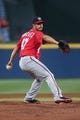 Aug 10, 2014; Atlanta, GA, USA; Washington Nationals starting pitcher Gio Gonzalez (47) delivers a pitch to an Atlanta Braves batter in the first inning of their game at Turner Field. The Braves won 3-1. Mandatory Credit: Jason Getz-USA TODAY Sports