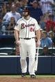 Aug 10, 2014; Atlanta, GA, USA; Atlanta Braves catcher Evan Gattis (24) prepares to pitch hit in the eighth inning of their game against the Washington Nationals at Turner Field. The Braves won 3-1. Mandatory Credit: Jason Getz-USA TODAY Sports