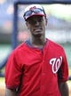 Aug 16, 2014; Washington, DC, USA; Washington Nationals right fielder Michael Taylor (18) on the field before the game against the Pittsburgh Pirates at Nationals Park. Mandatory Credit: Brad Mills-USA TODAY Sports