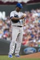 Aug 16, 2014; Minneapolis, MN, USA; Kansas City Royals starting pitcher Yordano Ventura (30) reacts and uses the rosin bag after giving up his third walk in the second inning against the Minnesota Twins at Target Field. Mandatory Credit: Jesse Johnson-USA TODAY Sports