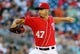 Aug 16, 2014; Washington, DC, USA; Washington Nationals starting pitcher Gio Gonzalez (47) throws during the first inning against the Pittsburgh Pirates at Nationals Park. Mandatory Credit: Brad Mills-USA TODAY Sports