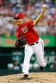 Aug 16, 2014; Washington, DC, USA; Washington Nationals starting pitcher Gio Gonzalez (47) throws during the second inning against the Pittsburgh Pirates at Nationals Park. Mandatory Credit: Brad Mills-USA TODAY Sports