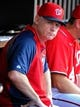 Aug 16, 2014; Washington, DC, USA; Washington Nationals manager Matt Williams (9) in the dugout during the game against the Pittsburgh Pirates at Nationals Park. Mandatory Credit: Brad Mills-USA TODAY Sports