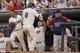 Aug 16, 2014; Minneapolis, MN, USA; Minnesota Twins catcher Kurt Suzuki (8) celebrates with Minnesota Twins manager Ron Gardenhire after scoring a run in the seventh inning against the Kansas City Royals at Target Field. Mandatory Credit: Jesse Johnson-USA TODAY Sports