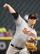 Aug 19, 2014; Chicago, IL, USA; Baltimore Orioles starting pitcher Chris Tillman (30) throws a pitch against the Chicago White Sox during the first inning at U.S Cellular Field. Mandatory Credit: Mike DiNovo-USA TODAY Sports