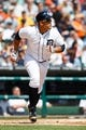 Aug 14, 2014; Detroit, MI, USA; Detroit Tigers first baseman Miguel Cabrera (24) runs to first against the Pittsburgh Pirates at Comerica Park. Mandatory Credit: Rick Osentoski-USA TODAY Sports