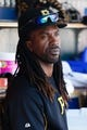 Aug 14, 2014; Detroit, MI, USA; Pittsburgh Pirates center fielder Andrew McCutchen (22) in the dugout against the Detroit Tigers at Comerica Park. Mandatory Credit: Rick Osentoski-USA TODAY Sports