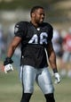Aug 12, 2014; Oxnard, CA, USA; Oakland Raiders linebacker Justin Cole (46) at scrimmage against the Dallas Cowboys at River Ridge Fields. Mandatory Credit: Kirby Lee-USA TODAY Sports