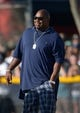 Aug 12, 2014; Oxnard, CA, USA; Dallas Cowboys former guard Larry Allen at scrimmage against the Oakland Raiders at River Ridge Fields. Mandatory Credit: Kirby Lee-USA TODAY Sports