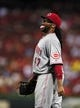 Aug 20, 2014; St. Louis, MO, USA; Cincinnati Reds starting pitcher Johnny Cueto (47) reacts after getting the final out of the fifth inning against the St. Louis Cardinals at Busch Stadium. Mandatory Credit: Jeff Curry-USA TODAY Sports