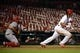 Aug 20, 2014; St. Louis, MO, USA; St. Louis Cardinals center fielder Jon Jay (19) hits a one run single off of Cincinnati Reds relief pitcher Carlos Contreras (not pictured) during the eighth inning at Busch Stadium. The Cardinals defeated the Reds 7-3. Mandatory Credit: Jeff Curry-USA TODAY Sports