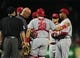 Aug 20, 2014; St. Louis, MO, USA; Cincinnati Reds relief pitcher Carlos Contreras (53) is removed from the game with an injury during the eighth inning against the St. Louis Cardinals at Busch Stadium. The Cardinals defeated the Reds 7-3. Mandatory Credit: Jeff Curry-USA TODAY Sports