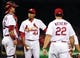Aug 20, 2014; St. Louis, MO, USA; St. Louis Cardinals relief pitcher Carlos Martinez (44) is removed from the game by manager Mike Matheny (22) during the ninth inning at Busch Stadium. The Cardinals defeated the Reds 7-3. Mandatory Credit: Jeff Curry-USA TODAY Sports
