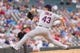 Aug 21, 2014; Minneapolis, MN, USA; Cleveland Indians starting pitcher Josh Tomlin (43) pitches in the eighth inning against the Minnesota Twins at Target Field. The Minnesota Twins win 4-1. Mandatory Credit: Brad Rempel-USA TODAY Sports