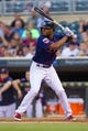 Aug 19, 2014; Minneapolis, MN, USA; Minnesota Twins center fielder Danny Santana (39) at bat against the Cleveland Indians at Target Field. Mandatory Credit: Brad Rempel-USA TODAY Sports