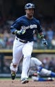 Aug 20, 2014; Milwaukee, WI, USA;  Milwaukee Brewers shortstop Jean Segura (9) during the game against the Toronto Blue Jays at Miller Park. Mandatory Credit: Benny Sieu-USA TODAY Sports