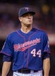 Aug 19, 2014; Minneapolis, MN, USA; Minnesota Twins starting pitcher Kyle Gibson (44) walks back to the dugout against the Cleveland Indians at Target Field. Mandatory Credit: Brad Rempel-USA TODAY Sports