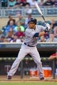 Aug 19, 2014; Minneapolis, MN, USA; Cleveland Indians left fielder Michael Brantley (23) at bat against the Minnesota Twins at Target Field. Mandatory Credit: Brad Rempel-USA TODAY Sports