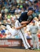 Aug 20, 2014; Milwaukee, WI, USA;  Milwaukee Brewers pitcher Tom Gorzelanny (32) during the game against the Toronto Blue Jays at Miller Park. Mandatory Credit: Benny Sieu-USA TODAY Sports