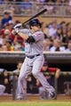 Aug 19, 2014; Minneapolis, MN, USA; Cleveland Indians right fielder Tyler Holt (62) at bat against the Minnesota Twins at Target Field. Mandatory Credit: Brad Rempel-USA TODAY Sports