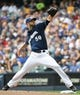Aug 24, 2014; Milwaukee, WI, USA;   Milwaukee Brewers pitcher Mike Fiers (50) pitches in the first inning against the Pittsburgh Pirates at Miller Park. Mandatory Credit: Benny Sieu-USA TODAY Sports