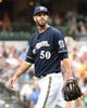 Aug 24, 2014; Milwaukee, WI, USA;   Milwaukee Brewers pitcher Mike Fiers (50) walks off the mound after pitching 7 innings while giving up 2 runs against the Pittsburgh Pirates to pick up the win at Miller Park. The Brewers beat the Pirates 4-3. Mandatory Credit: Benny Sieu-USA TODAY Sports