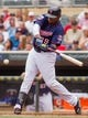 Aug 21, 2014; Minneapolis, MN, USA; Minnesota Twins designated hitter Kennys Vargas (19) at bat in the against the Cleveland Indians at Target Field. Mandatory Credit: Brad Rempel-USA TODAY Sports