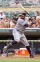 Aug 21, 2014; Minneapolis, MN, USA; Cleveland Indians first baseman Carlos Santana (41) at bat in the against the Minnesota Twins at Target Field. Mandatory Credit: Brad Rempel-USA TODAY Sports