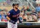 Aug 21, 2014; Minneapolis, MN, USA; Minnesota Twins third baseman Trevor Plouffe (24) at bat in the against the Cleveland Indians at Target Field. Mandatory Credit: Brad Rempel-USA TODAY Sports
