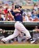 Aug 21, 2014; Minneapolis, MN, USA; Minnesota Twins first baseman Joe Mauer (7) at bat in the against the Cleveland Indians at Target Field. Mandatory Credit: Brad Rempel-USA TODAY Sports