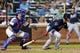 Aug 26, 2014; New York, NY, USA; Atlanta Braves second baseman Tommy La Stella (7) hits an RBI single against the New York Mets during the seventh inning of a game at Citi Field. The Mets defeated the Braves 3-2. Mandatory Credit: Brad Penner-USA TODAY Sports