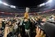 Aug 29, 2014; Denver, CO, USA; Colorado State Rams head coach Jim McElwain holds the Centennial Cup following the win over the Colorado Buffaloes at Sports Authority Field at Mile High. Mandatory Credit: Ron Chenoy-USA TODAY Sports