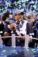 Feb 2, 2014; East Rutherford, NJ, USA; Seattle Seahawks quarterback Russell Wilson holds the Vince Lombardi Trophy after Super Bowl XLVIII against the Denver Broncos at MetLife Stadium.  Mandatory Credit: Mark J. Rebilas-USA TODAY Sports
