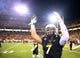 Nov 30, 2013; Tempe, AZ, USA; Arizona State Sun Devils linebacker Carlos Mendoza reacts against the Arizona Wildcats in the 87th annual Territorial Cup at Sun Devil Stadium. Mandatory Credit: Mark J. Rebilas-USA TODAY Sports