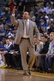April 10, 2014; Oakland, CA, USA; Golden State Warriors head coach Mark Jackson instructs during the fourth quarter against the Denver Nuggets at Oracle Arena. The Nuggets defeated the Warriors 100-99. Mandatory Credit: Kyle Terada-USA TODAY Sports
