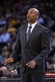 April 10, 2014; Oakland, CA, USA; Denver Nuggets head coach Brian Shaw instructs during the third quarter against the Golden State Warriors at Oracle Arena. The Nuggets defeated the Warriors 100-99. Mandatory Credit: Kyle Terada-USA TODAY Sports