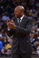 April 10, 2014; Oakland, CA, USA; Denver Nuggets head coach Brian Shaw instructs during the fourth quarter against the Golden State Warriors at Oracle Arena. The Nuggets defeated the Warriors 100-99. Mandatory Credit: Kyle Terada-USA TODAY Sports