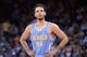 April 10, 2014; Oakland, CA, USA; Denver Nuggets guard Evan Fournier (94) during the third quarter against the Golden State Warriors at Oracle Arena. The Nuggets defeated the Warriors 100-99. Mandatory Credit: Kyle Terada-USA TODAY Sports