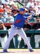Mar 10, 2014; Scottsdale, AZ, USA; Chicago Cubs outfielder Ryan Kalish against the San Francisco Giants at Scottsdale Stadium. Mandatory Credit: Mark J. Rebilas-USA TODAY Sports
